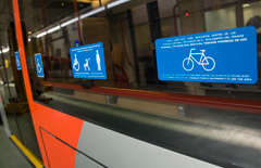Signage to help facilitate the use of the trains